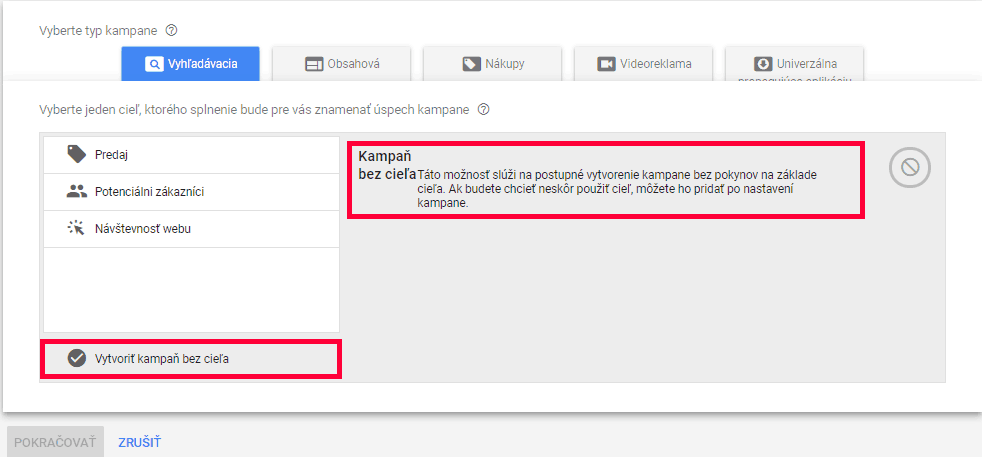 krok 2 - nastavenie kampane Google Ads