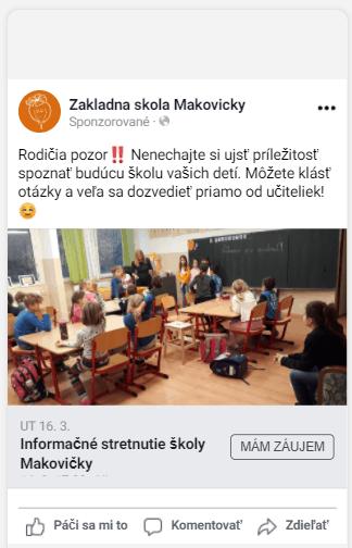 Príklad reklamného textu pre klienta Makovičky z reklamnej kampane na Facebooku.