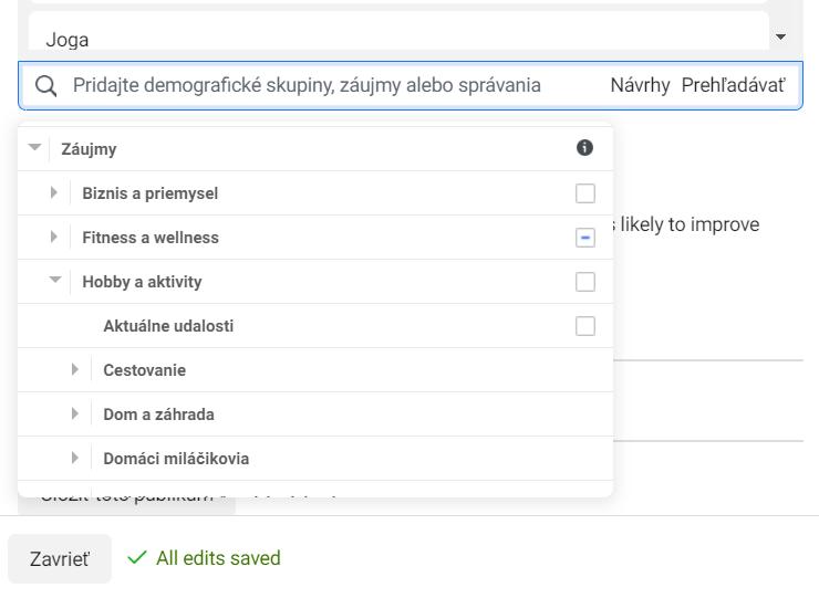 Výber možností v nastavení publika v rozhraní Facebook Ads Manager-a.